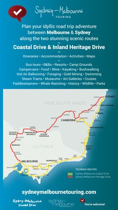 Plan your idyllic road trip adventure between Melbourne and Sydney along the two stunning scenic routes ~ Coastal Drive and Inland Heritage Drive ~ Itineraries Travel Route, Bus Travel, Vic Australia, Australia Travel, Best Caravan, Australian Road Trip, Train Museum, Road Trip Adventure, Water Activities