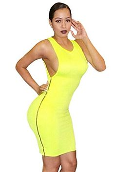 Sexy Womens Sleeveless Backless Solid Color Bodycon Clubwear Dress Medium Yellow ** Be sure to check out this awesome product.  This link participates in Amazon Service LLC Associates Program, a program designed to let participant earn advertising fees by advertising and linking to Amazon.com.
