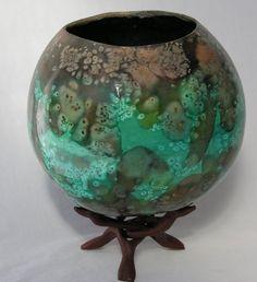 "Gourd Art - ""Almost Like Earth"".  absorbant ground gesso, silk dyes, salt, dye fixative, gloss sealer"