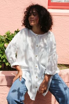 Oversized collarless button up shirt in Natural Linen Papa Clothing is all made to order and can take between weeks to be made Made Clothing, Striped Linen, Fashion Labels, Natural Linen, Blue Stripes, Button Up Shirts, Lily, Unisex, Boutique Shop