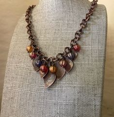 Handmade Necklaces, Handmade Items, Pink And Gold, Purple, Copper Necklace, Glass Globe, Turquoise Earrings, Leaf Design, Metal Jewelry