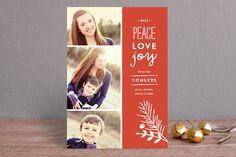 Peace + Love + Joy Christmas Photo Cards by Carolyn MacLaren at minted.com