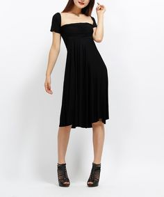 Look at this #zulilyfind! Black Off-Shoulder Dress by Modern Touch #zulilyfinds