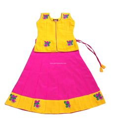 04d2b9b3e Pattu Pavadai Traditional Lehenga Choli Fancy Langa Yellow and Pink for  Indian Baby Girls and Kids