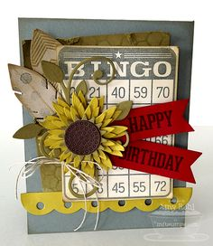 MFT Document It - Bingo! by rohla - Cards and Paper Crafts at Splitcoaststampers Birthday Greetings, Birthday Cards, Happy Birthday, Scrapbook Cards, Scrapbooking, Scrapbook Layouts, Hand Made Greeting Cards, Bingo Cards, Fall Cards