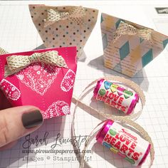 quick and easy mini treat bag for love hearts tutorial | Sarah Lancaster #stampinup Sending Love