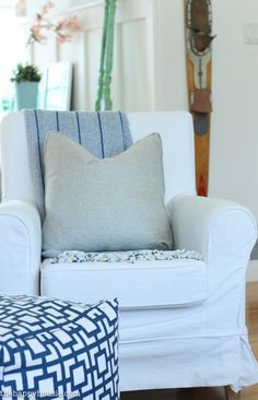 Coastal Style Blue and White Living Room Lakehouse Living Room Makeover Reveal for the One Room Challenge -15