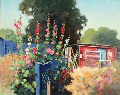 Hollyhocks on the allotment garden