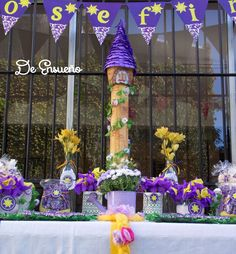 Rapunzel Tangled birthday party dessert table! See more party planning ideas at CatchMyParty.com!