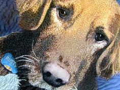 "Close up, ""Rusty's New Teddy Bear"", 16 x 23"", by Tonya Littman, showing threadwork"
