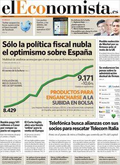 Los Titulares y Portadas de Noticias Destacadas Españolas del 21 de Septiembre de 2013 del Diario El Economista ¿Que le pareció esta Portada de este Diario Español?