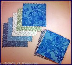 "4""40 All About Blues Cotton Quilting Fabric Squares Blocks Patchwork Quilt"