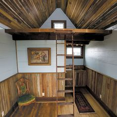 Texas Tiny House ... Reclaimed beaded board vertical wainscot and ceiling. Horizontal wood boards above wainscot.