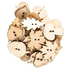 Natural Plywood Button Shapes