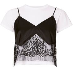 Michelle Mason Women's Lace Camisole Layered Tee (€355) ❤ liked on Polyvore featuring tops, t-shirts, lace cami top, lace camis, crop t shirt, short sleeve t shirt and lace tee