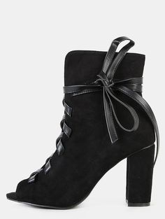 MakeMeChic - MAKEMECHIC Faux Suede Leather Lace Up Boots BLACK - AdoreWe.com