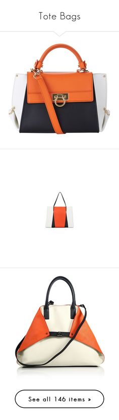 """""""Tote Bags"""" by kiki-bi ❤ liked on Polyvore featuring bags, handbags, tote bags, orange leather handbag, genuine leather handbags, handbags totes, orange leather purse, leather handbags, summer handbags and summer totes"""