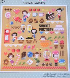 Modern cross stitch patterns and kits - Sweet factory, sweets motifs, candies…
