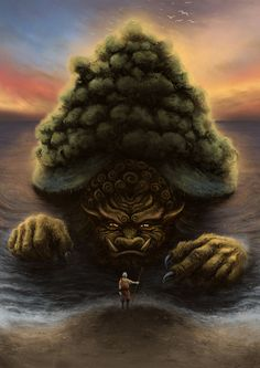 Aang and the Lion Turtle
