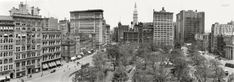 """New York circa 1910. """"Union Square."""" The Met Life tower presides over this panoramic view, a composite of four 8x10 glass negatives."""