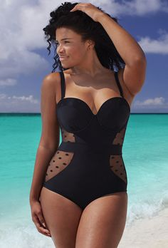 GabiFresh for Swim Sexy The Marchioness E/F Underwire Swimsuit Loving the cutout polka dot detail!