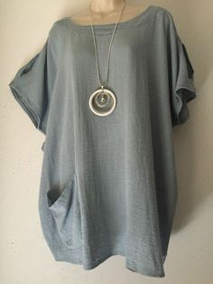 Quirky Linen mix-Slash shoulder Lagenlook Tunic top -One Plus size-12-18  Blue