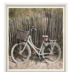 "Vintage beach bike on the beach. Beautiful photography , with soft neutral hues. Perfect for any room in your house. Measures: 43"" X 43"". PRINTS ARE FRAMED TO ORDER PLEASE ALLOW 3 WEEKS TO SHIP. ADDIT"