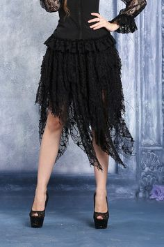 Tulle Lace Witchy Hem Gothic Skirt by Dark in Love