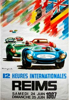 The 1967 12 Hours of Reims was a sports car endurance racing series featuring a Le Mans style start at the stroke of midnight. The races were held at the circuit Reims-Gueux in France from 1953 until 1967. A Ford GT40 piloted by Guy Ligier and Jo Schlesser took the win at the '67 event, followed by a Ferrari 365 P2 driven by David Piper and Jo Siffert, with Porsche 906's taking P3 through P6. #ReimsGueux #Marne
