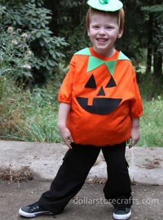 No-sew pumpkin costume.  Miles said he wanted to be a pumpkin....