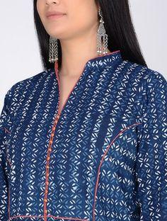 Indigo Block-Printed Paneled Cotton Kurta - All About Kurtha Designs, Chudidhar Neck Designs, Neckline Designs, Dress Neck Designs, Simple Kurta Designs, Kurta Designs Women, Sewing Clothes Women, Clothes For Women, Kurta Patterns