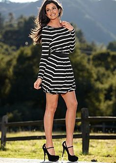 Black And Cream (BKCR) Elastic Waist Striped Dress $42  @ Venus.com