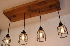 Upcycled Wood Chandelier with cage lighting by Bornagainwoodworks, $300.00
