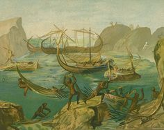 """Laestrygonians Hurling Rocks at the Fleet of Odysseus"". Reproduction in J. C. Andrä book of a roman wallpainting. [http://commons.wikimedia.org/wiki/File:Odysseus_bei_den_Laestrygonen.jpg]"