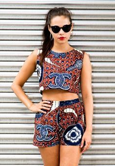 Carnival outfit African Wax Print matching shorts & top