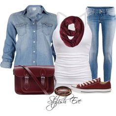 casual and cute outfit! blue jean button shirt with scarf and converse