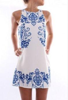 Vestido Feminino Estampa Azulejo Grego R$ 21,53  Link para comprar: http://lnk.do/S2UCb