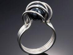 Ring | Tomoko Azumi.  'Twirl'. Sterling silver and hematite.
