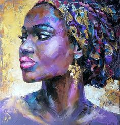 Buy Portrait african woman, oil original painting on canvas, Oil painting by Viktoria Lapteva on Artfinder. Discover thousands of other original paintings, prints, sculptures and photography from independent artists. African American Art, African Women, African Girl, African Style, African Beauty, African Art Paintings, Original Paintings, Bright Paintings, Black Artwork