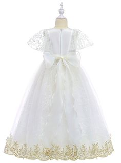 Ball Gown / Princess Long Length / Midi Flower Girl Dress - Poly&Cotton Blend Short Sleeve Jewel Neck with Embroidery / Tiered by LAN TING Express 2019 - US $34.99 Cheap Flower Girl Dresses, Girls Dresses Online, Princess Ball Gowns, Jewels, Embroidery, Wedding Dresses, Sleeve, Cotton, Fashion