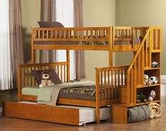 woodland twin over full bunk bed with twin urban lifestyle trundle and staircase wayfair