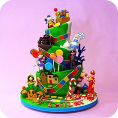 Art Dahlias Custom Cakes: Candyland Cake colorful-party-for-kids Candy Theme Cake, Candy Land Theme, Candy Party, Fancy Cakes, Cute Cakes, Yummy Cakes, Candyland, Pinterest Cake, Character Cakes