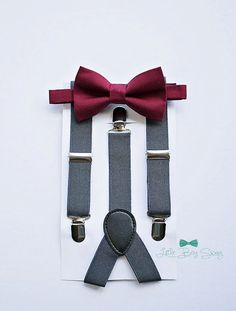 Boys burgundy wine bow tie charcoal suspenders set..rustic fall wedding..baby boy..ringbearers..cake smash..kids outfits..boy first birthday