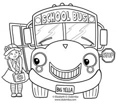 Front view of a school bus full of children coloring page | school ...