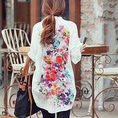 flor de la manga larga de gasa de impresión blusa larga de las mujeres - USD $ 9.99