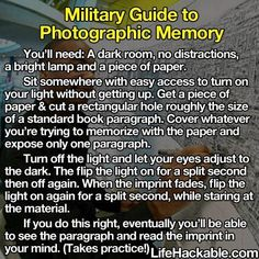 Military Guide to Photographic Memory - #Memory, #Military