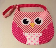 LITTLE GIRLS BAG  pink polka dot owl shoulder by twoblackrabbits