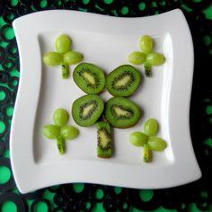 Fun with St. Patrick's Food - shamrock kiwi and grapes