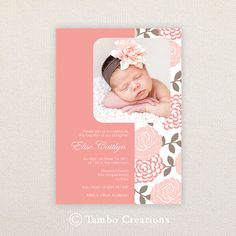 Girls Photo Christening/baptism Invitations. I Customize, You Print. on Etsy, $15.99