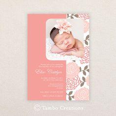 Girls Photo Christening/baptism Invitations. I Customize, You Print. on Etsy, $15.99